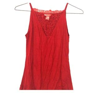 Red Lace V neck Cami